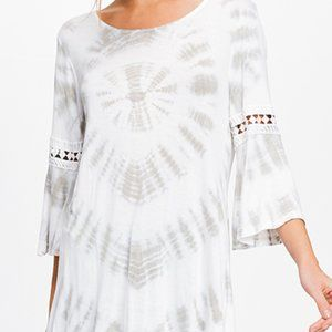 Lapis Off White/Gray Tie-die Bell Sleeve Tunic